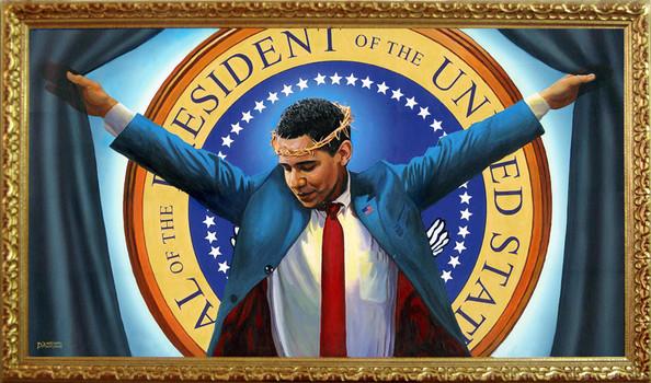 JESUCRISTO, EL GRAN BUFÓN DE LOS ILLUMINATI - Página 4 ObamaPortrayedAsChrist